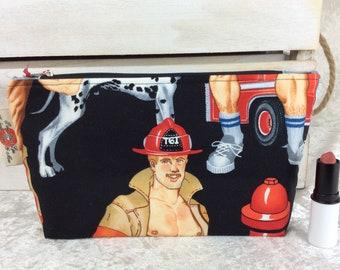 Firefighters Firemen Zipper case zip pouch fabric bag pencil case purse pouch Alexander Henry Ready For Action
