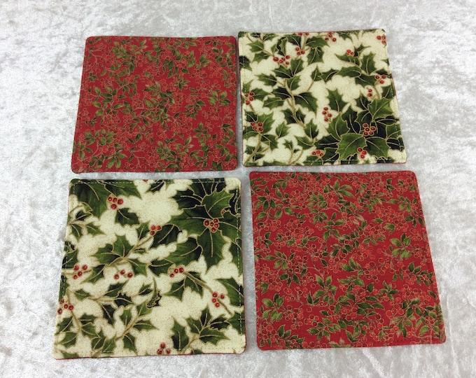 Holly Reversible Fabric coasters set of 4 mug rugs