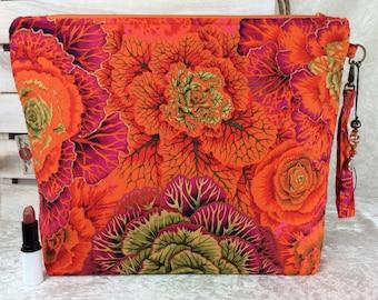 Cabbages Giant Zipper Case Zip Pouch Bag Purse fabric Strap Pencil Makeup Kaffe Fassett Philip Jacobs Brassica