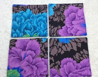 Fabric coasters set of 4 mug rugs  Flowers Brocade Peony Kaffe Fassett Philip Jacobs