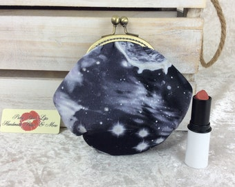 Space coin purse wallet fabric kiss clasp frame wallet change pouch handmade planets stars hand stitched frame