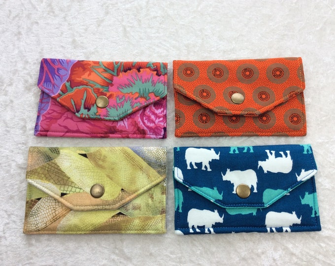 Card holder business card case wallet fabric travel pass cover Cabbages Rhinos Dragonfly Wings Orange rings