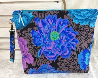 Peony Flowers Giant Zipper Case Zip Pouch Bag Purse fabric Strap Pencil Makeup Kaffe Fassett Philip Jacobs Brocade Peony