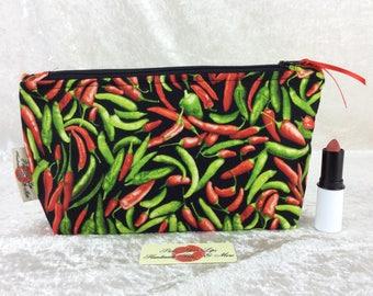 Chilli Peppers Chillis Zipper case zip pouch fabric bag pencil case purse pouch