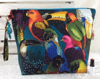 Tropical Birds Parrots Toucan Giant Zipper Case Zip Pouch Bag Purse fabric Strap Pencil Makeup Alexander Henry Birds of a Feather