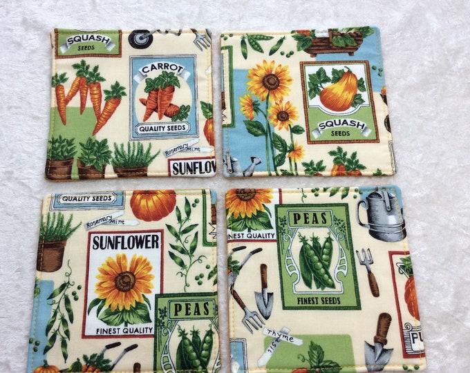 Fabric coasters set of 4 mug rugs garden seeds Flowers vegetables seed packets gardening