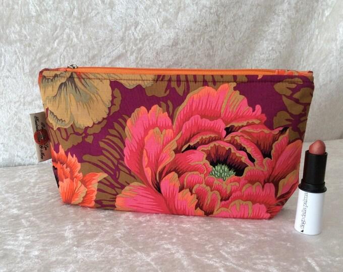 Peony Flowers Zipper case zip pouch fabric bag pencil case purse pouch Kaffe Fassett Philip Jacobs Brocade Peony