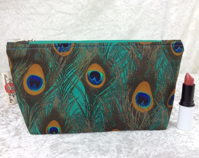 Peacock Feathers Zipper case zip pouch fabric bag pencil case purse pouch