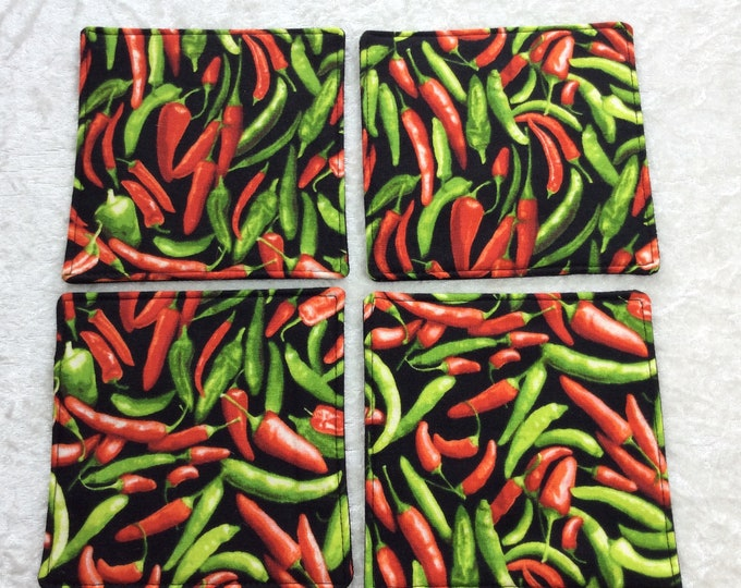 Fabric coasters set of 4 mug rugs  Chillis Chilli Peppers