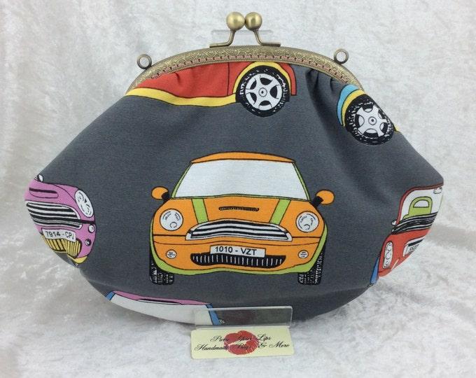BMW Minis purse bag frame handbag fabric clutch shoulder bag frame purse kiss clasp bag Handmade Cars