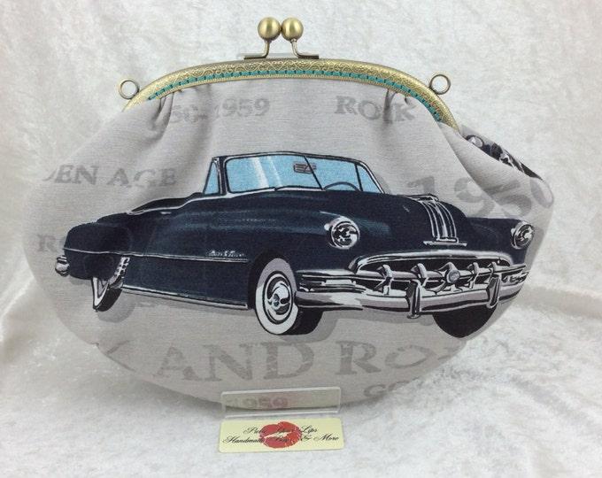 American cars  purse bag frame handbag fabric clutch shoulder bag frame purse kiss clasp bag Handmade 50's Cruisers