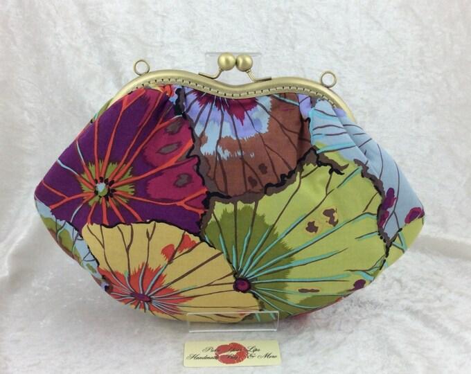 Lotus Leaf purse bag frame handbag fabric clutch shoulder bag frame purse kiss clasp bag Handmade Kaffe Fassett Philip Jacobs