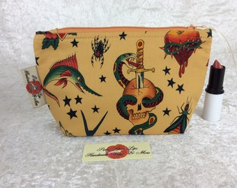 Tattoo Gothic Zipper case zip pouch fabric bag pencil case purse pouch tattoos
