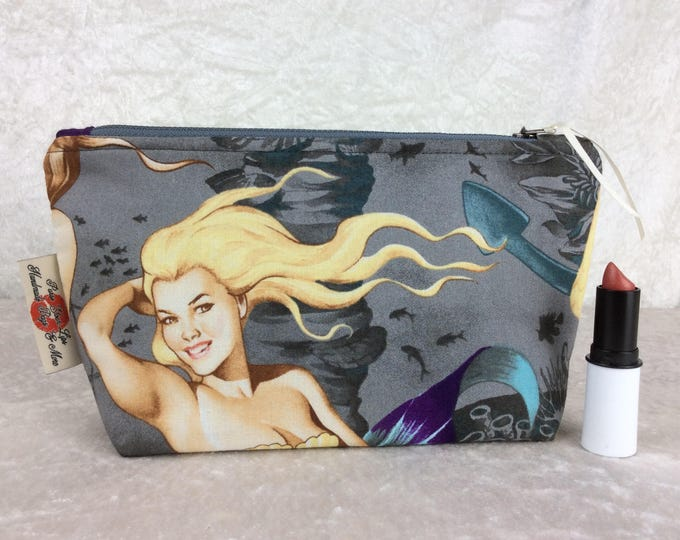 Mermaids Zipper case zip pouch fabric bag pencil case purse pouch Alexander Henry Sea Sirens
