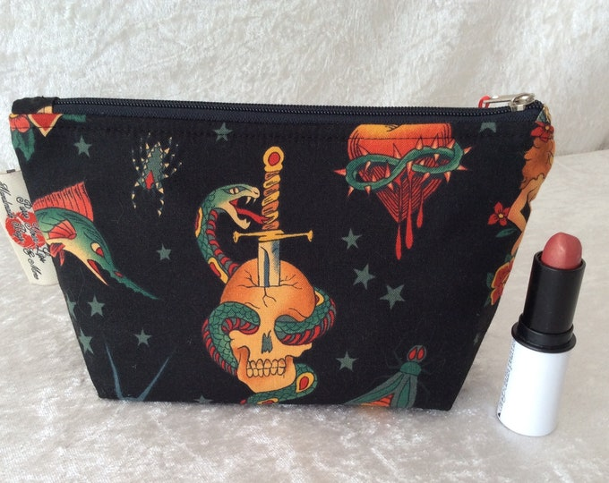Gothic Tattoos Zip Case Bag Pouch fabric Alexander Henry design Handmade in England
