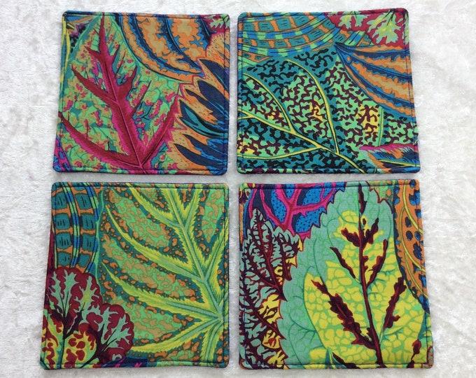 Fabric coasters set of 4 mug rugs Coleus Leaves Kaffe Fassett Philip Jacobs