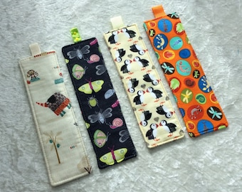 Fabric Bookmarks Handmade Bookmarks Elephants Bugs Puffins bones