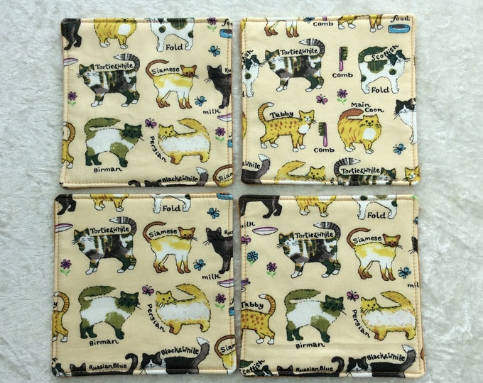 Fabric coasters set of 4 mug rugs  Cats