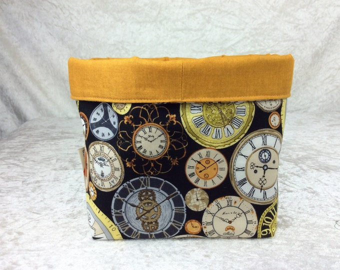Clocks Fabric basket storage bin box watches Time