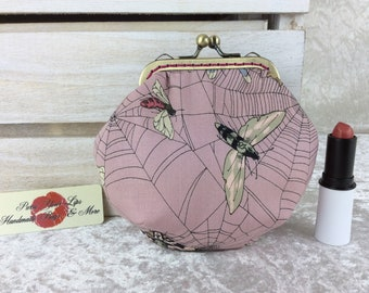Gothic Moths Web coin purse wallet fabric kiss clasp frame wallet change pouch Alexandee Henry Tattoo hand stitched frame Ghastlie Web