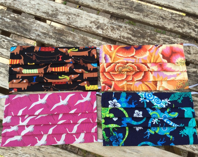 Featured listing image: face coverings masks optional nose wire pleated filter pocket fabric handmade washable reusable cotton two layer dogs lizards flowers cranes