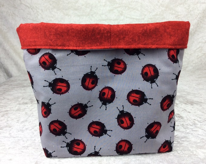 Ladybirds ladybugs Fabric basket storage bin box