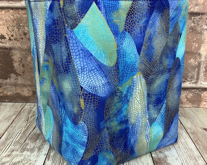 Featured listing image: Dragonfly Wings Fabric Basket, Storage bin, Storage pouch, Handmade by Purse Your Lips