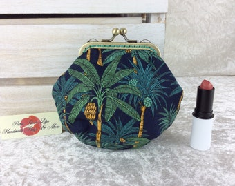 Palms coin purse wallet fabric kiss clasp frame wallet change pouch handmade hand stitched frame Palm Trees
