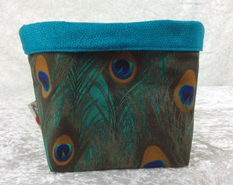 Peacock Feathers fabric basket storage bin box birds