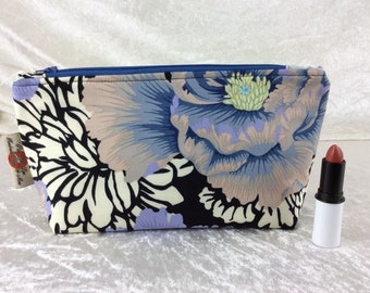 Peony Flowers Zipper case zip pouch fabric bag pencil case purse pouch Kaffe Fassett Philip Jacobs Brocade Peony