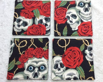 Fabric coasters set of 4 mug rugs gothic skulls roses Alexander Henry Rose Tattoo