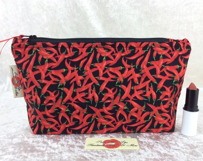 Chillis Zipper case zip pouch fabric bag pencil case purse pouch Chilli Peppers