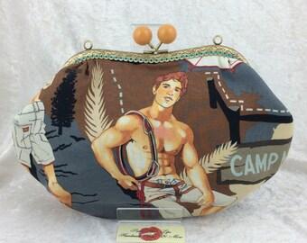 Hikers purse bag frame handbag fabric clutch shoulder bag frame purse kiss clasp bag Handmade Alexander Henry Outdoorsy