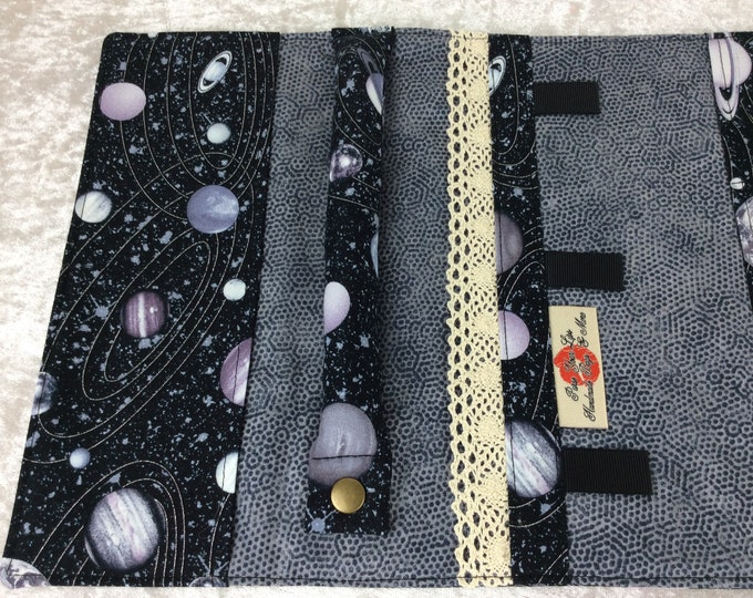 Featured listing image: Jewellery roll Planets organiser travel case handmade space stars jewelry roll