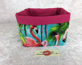 Flamingos Fabric basket storage bin box Tropical Birds