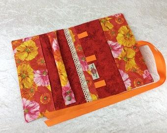 Flowers Jewellery roll Jewelry organiser travel wrap case pouch