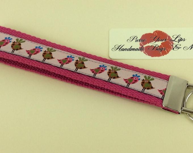 Pink Birds Key Fob Wristlet Key Ring Chain Wrist Strap Lanyard Wedding Favours