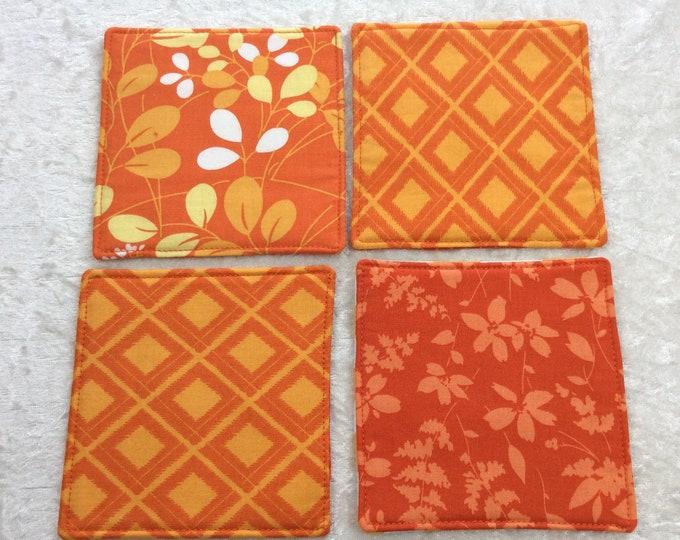 Fabric coasters set of 4 mug rugs  shades of orange