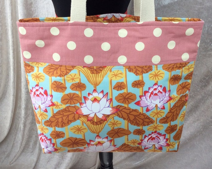 Lotus Flowers beach tote shoulder bag shopping shopper day bag purse Handmade Kaffe Fassett