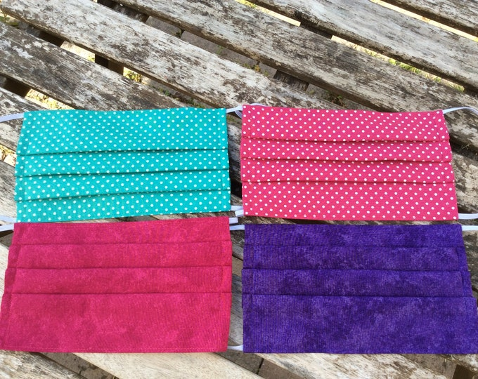 Featured listing image: Face coverings masks optional nose wire pleated filter pocket fabric handmade washable reusable cotton two layer turquoise pink spot purple