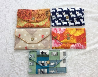 Card holder business card case wallet fabric travel pass cover cabbages dogs chickens cats flowers
