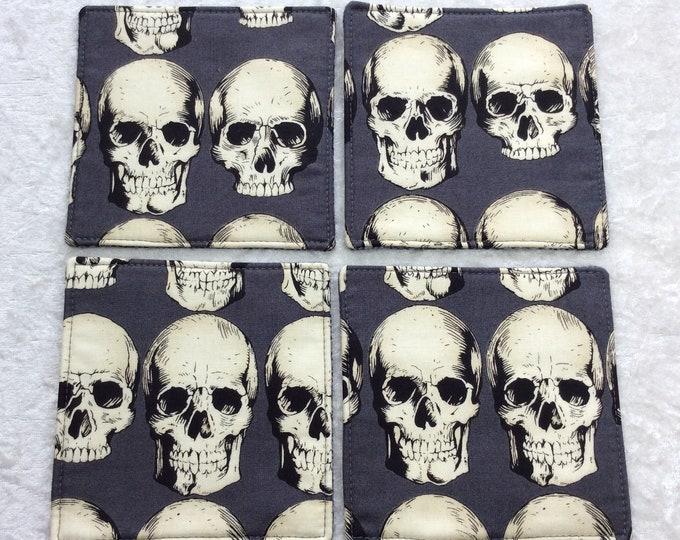 Fabric coasters set of 4 mug rugs Gothic Rad Skulls Alexander Henry