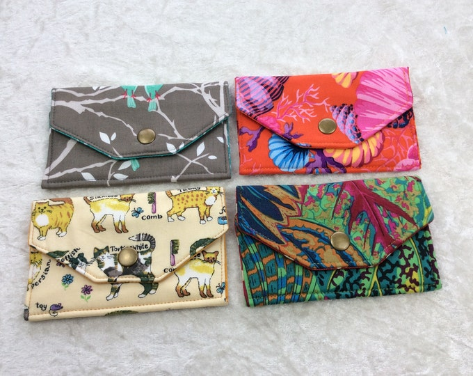 Card holder business card case wallet fabric travel pass cover birds leaves cats shells