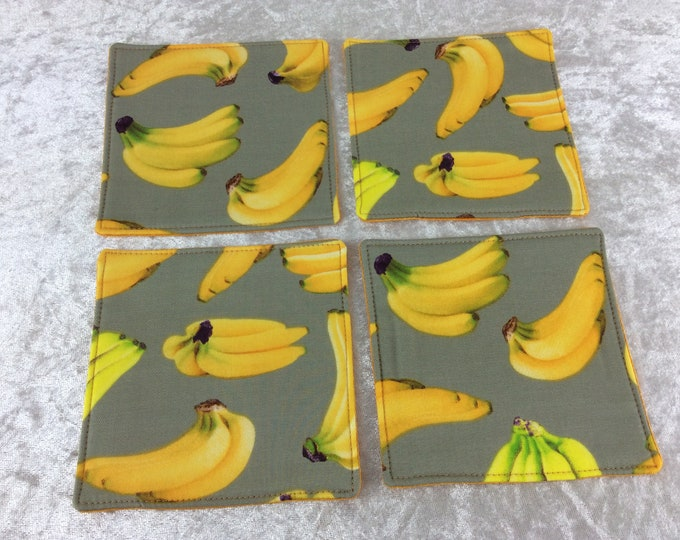 Bananas Fabric coasters set of 4 mug rugs