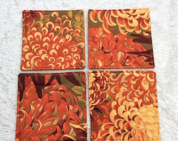 Chrysanthemum Flowers Fabric coasters set of 4 mug rugs Japanese Chrysanthemums Kaffe Fassett Philip Jacobs