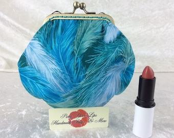 Feathers coin purse wallet fabric kiss clasp frame wallet change pouch handmade  hand stitched frame