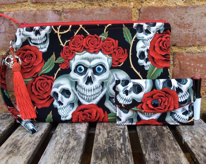 Featured listing image: Gothic skulls roses  zip clutch purse bag set with case and wrist strap Handmade Alexander Henry Rose Tattoo Large size
