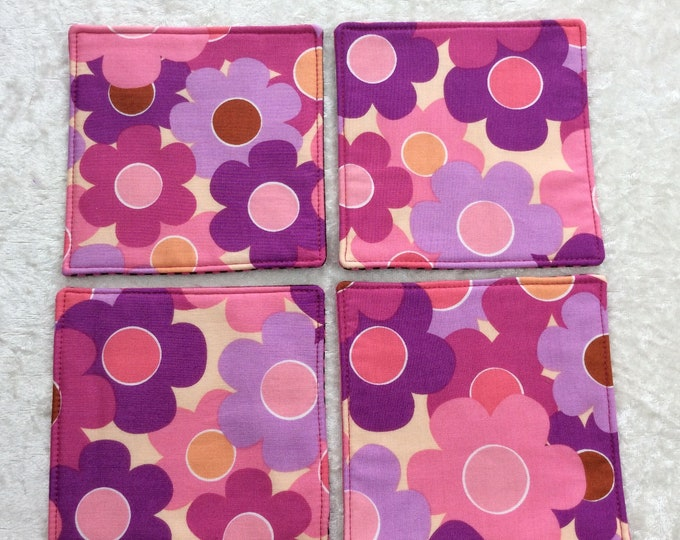 Fabric coasters set of 4 mug rugs flowers Psychedelic 60s inspired