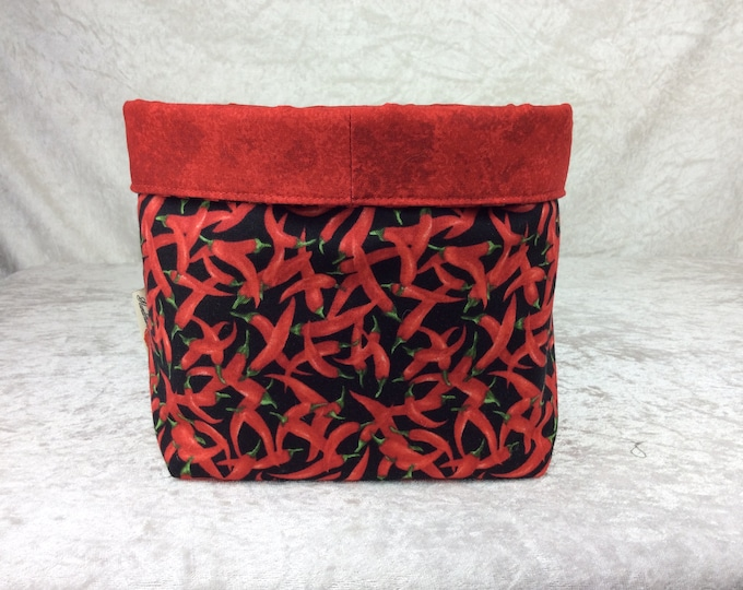Chillis Fabric basket storage bin box Chilli Peppers