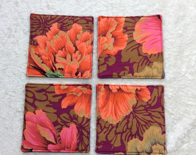 Peony Flowers Fabric coasters set of 4 mug rugs Brocade Peony Kaffe Fassett Philip Jacobs